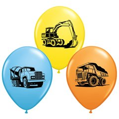 "11"" Printed Latex Balloons, Construction Trucks Asortate, Qualatex 38471"