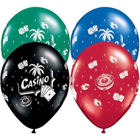 "11"" Printed Latex Balloons, Casino Asortate, Qualatex 92062, Pack of 25 Pieces"