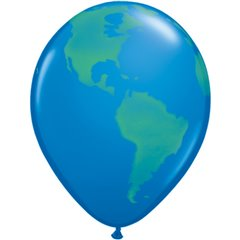 "11"" Printed Latex Balloons, Globe, Dark Blue, Qualatex 39846, Pack of 25 Pieces"