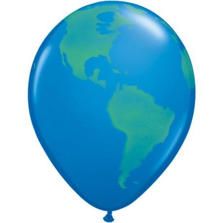 "11"" Printed Latex Balloons, Globe, Dark Blue, Qualatex 39846, Pack of 25 Pieces"