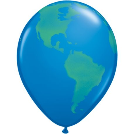 "Baloane latex 11"" inscriptionate, Globe, Dark Blue, Qualatex 39846, set 25 buc"