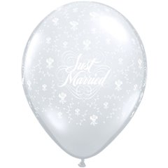 """24"""" Printed Latex Balloons, Just Married Flowers-A-Round Diamond Clear, Qualatex 82098"""