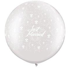 "Baloane latex Jumbo 30"" inscriptionate Just Married Flowers-A-Round Pearl White, Qualatex 29208, set 2 buc"