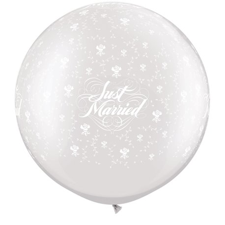 "Baloane latex Jumbo 30"" inscriptionate Just Married Flowers-A-Round Pearl White, Qualatex 29208, set 2 buc"