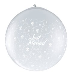 Baloane latex Jumbo 3' inscriptionate Just Married Flowers-A-Round Diamond Clear, Qualatex 29207, set 2 buc