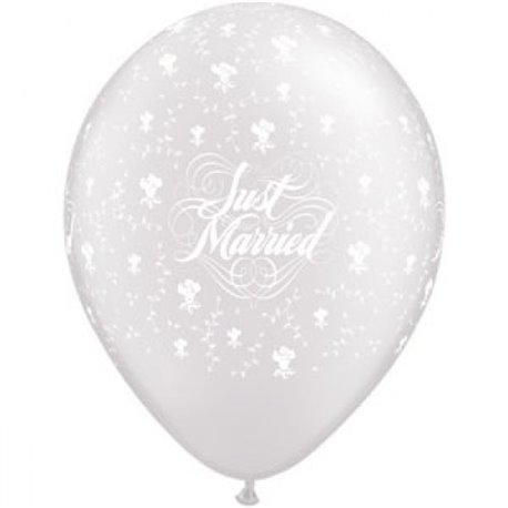 "Baloane latex 11"" inscriptionate Just Married Hearts-A-Round Diamond Clear, Qualatex 39208, set 100 buc"