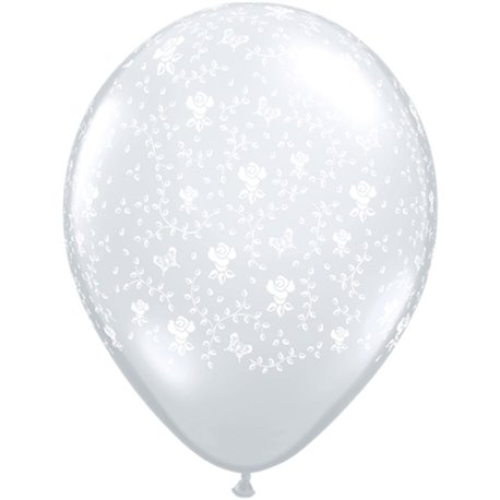 """5"""" Printed Latex Balloons, Flowers-A-Round Diamond Clear, Qualatex 39414, Pack of 100 pieces"""