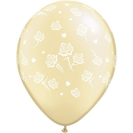 "Baloane latex 16"" inscriptionate Hearts and Roses-A-Round Diamond Clear, Qualatex 98767, set 50 buc"