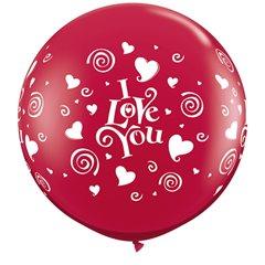 Baloane latex Jumbo 3 ft inscriptionate I Love You Swirling Hearts Ruby Red, Qualatex 28188, 1 buc