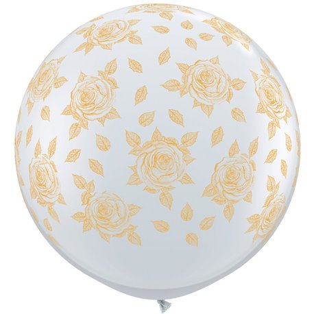 Baloane latex Jumbo 3' inscriptionate Elegant Roses-A-Round Diamond Clear, Qualatex 28177, set 2 buc