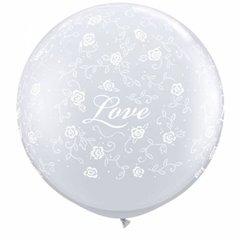 Baloane latex Jumbo 3 ft inscriptionate Love Filigree-A-Round Diamond Clear, Qualatex 29169, 1 buc
