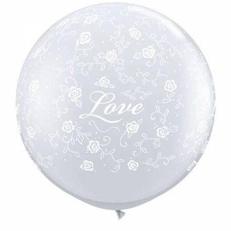 Baloane latex Jumbo 3' inscriptionate Love Filigree-A-Round Diamond Clear, Qualatex 29169, set 2 buc