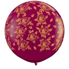 3' Printed Jumbo Latex Balloons, Elegant Roses-A-Round Sparkling Burgundy, Qualatex 28176