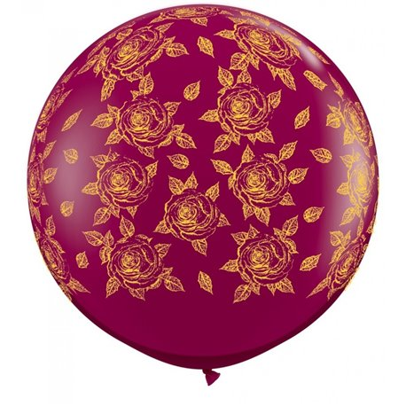 Baloane latex Jumbo 3' inscriptionate Elegant Roses-A-Round Sparkling Burgundy, Qualatex 28176, set 2 buc