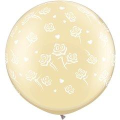 Baloane latex Jumbo 3' inscriptionate Hearts & Roses-A-Round Diamond Clear, Qualatex 28159, set 2 buc