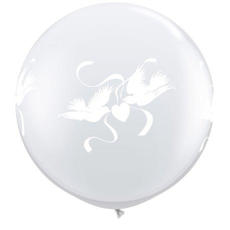 Baloane latex Jumbo 3' inscriptionate Love Doves Diamond Clear, Qualatex 29170, set 2 buc