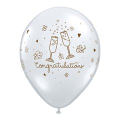 "Baloane latex 11"" inscriptionate Congratulations Toast Diamond Clear, Qualatex 82750"