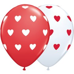"11"" Printed Latex Balloons, Big Hearts Asortate White & Red, Qualatex 76928"