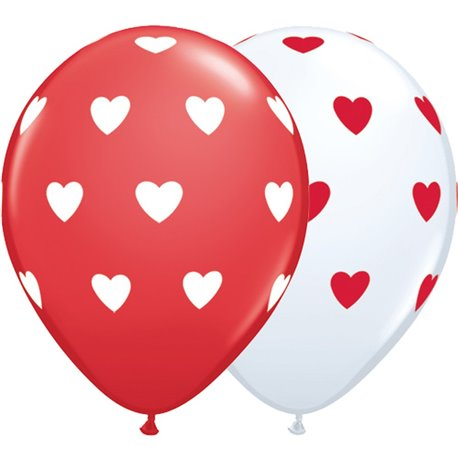 "11"" Printed Latex Balloons, Big Hearts Asortate White & Red, Qualatex 76928, Pack of 50 pieces"