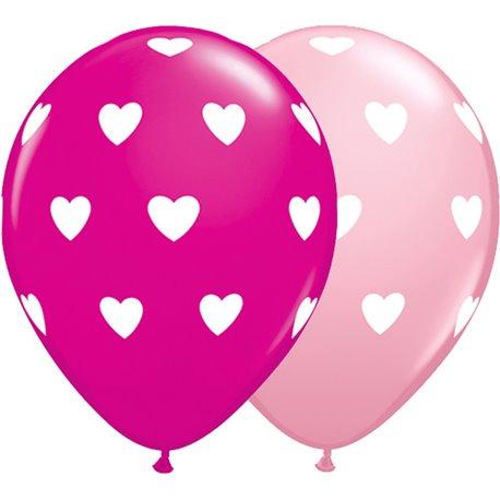 "11"" Printed Latex Balloons, Big Hearts Asortate Pink & Wild Berry, Qualatex  27051"