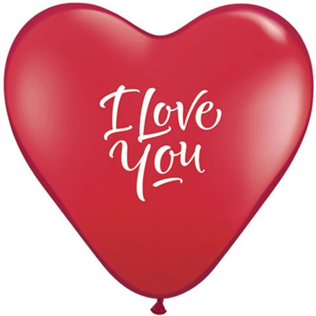 "Baloane latex inima 15"" inscriptionate I Love You Script Modern Ruby Red, Qualatex 29005, set 50 buc"