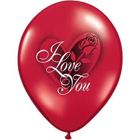 "Baloane latex 11"" inscriptionate I Love You Red Rose Ruby Red, Qualatex 97513, set 25 buc"