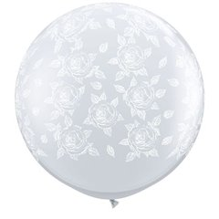 3' Printed Jumbo Latex Balloons, Elegant Roses-A-Round Diamond Clear - White Ink, Qualatex 28178, Pack of 2 pieces