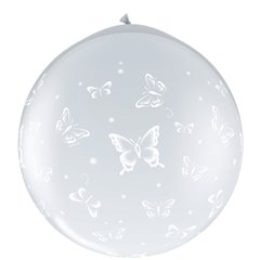 Baloane latex Jumbo 3 ft inscriptionate Butterflies-A-Round Diamond Clear, Qualatex 31505, 1 buc