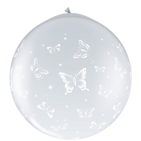 Baloane latex Jumbo 3' inscriptionate Butterflies-A-Round Diamond Clear, Qualatex 31505, set 2 buc