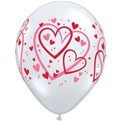 "Baloane latex 11"" inscriptionate Red & Pink Pattern Hearts Diamond Clear, Qualatex 40295, set 50 buc"