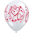 """11"""" Printed Latex Balloons, Red & Pink Pattern Hearts Diamond Clear, Qualatex 40295, Pack of 50 pieces"""