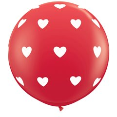 3' Printed Jumbo Latex Balloons, Big Hearts-A-Round Red, Qualatex 31089