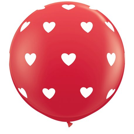 3' Printed Jumbo Latex Balloons, Big Hearts-A-Round Red, Qualatex 31089, Pack of 2 pieces