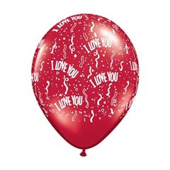 """5"""" Printed Latex Balloons, I Love You-A-Round Ruby Red, Qualatex 39511"""