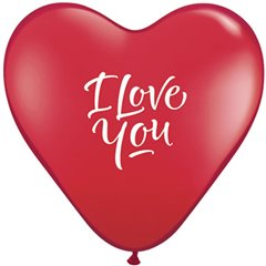 "Baloane latex inima 6"" inscriptionate I Love You Ruby Red, Qualatex 29075"