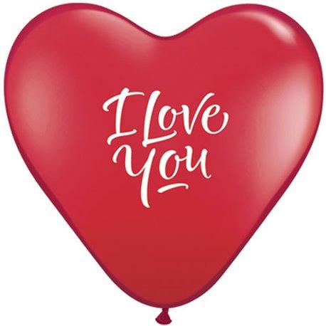 "Baloane latex inima 6"" inscriptionate I Love You Ruby Red, Qualatex 29075, set 100 buc"
