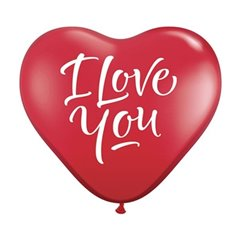 3' Heart Printed Jumbo Latex Balloons, I Love You Script Red, Qualatex 29509, Pack of 2 pieces