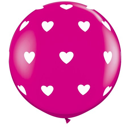 3' Printed Jumbo Latex Balloons, Big Hearts-A-Round Wild Berry, Qualatex 31416, Pack of 2 pieces