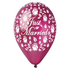 "Baloane latex sidefate 12"" (30cm) inscriptionate Just Married Burgundy, Gemar 301915, set 5 buc"