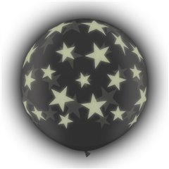 Baloane latex Jumbo 3 ft inscriptionate Glow Stars-A-Round Transparent, Qualatex 28154, 1 buc