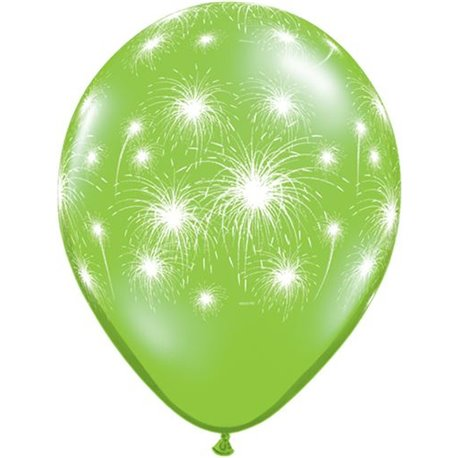 """11"""" Printed Latex Balloons, Fireworks-a-round Lime Green, Qualatex 91993, Pack of 25 Pieces"""
