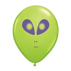 "5"" Printed Latex Balloons, Space Alien Lime Green, Qualatex 79711"
