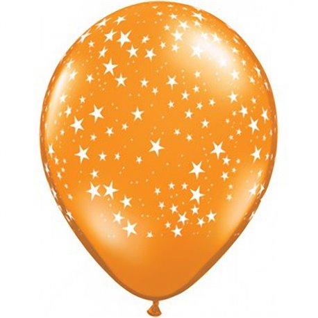 "Baloane latex 5"" inscriptionate Stars Orange, Qualatex 92068, set 100 buc"