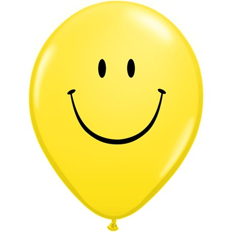 "5"" Printed Latex Balloons, Smile Face Yellow, Qualatex 39270, Pack of 100 Pieces"