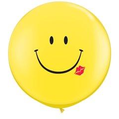 3' Printed Jumbo Latex Balloons,  A Smile & A Kiss Yellow, Qualatex 28150, Pack of 2 pieces