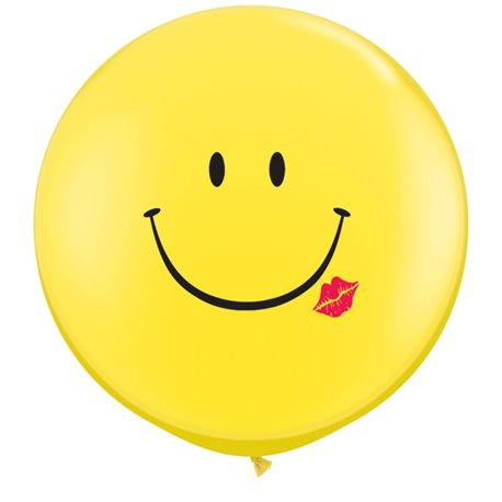 Baloane latex Jumbo 3' inscriptionate A Smile & A Kiss Yellow, Qualatex 28150, set 2 buc