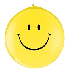 Baloane latex Jumbo 3' inscriptionate Smile Face Yellow, Qualatex 29210, 1 buc