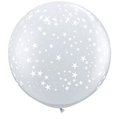 Baloane latex Jumbo 3 ft inscriptionate Stars-A-Round Diamond Clear, Qualatex 29264, 1 buc