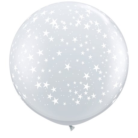 Baloane latex Jumbo 3' inscriptionate Stars-A-Round Diamond Clear, Qualatex 29264, set 2 buc