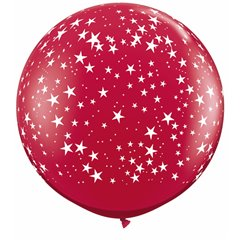 Baloane latex Jumbo 3 ft inscriptionate Stars-A-Round Ruby Red, Qualatex 29266, 1 buc